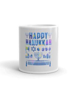 Happy Hanukkah White glossy mug